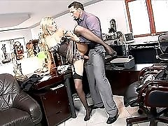 Deepthroating secretary fucked in his home office
