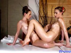 Oiled lesbian sex with two beloved dolls Lady Bug and Jenny Wild