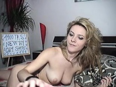 Blonde milf sizzles in a striptease porn video
