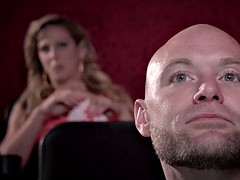 Lucky guy fucks his girlfriend and her stepmom at the cinema