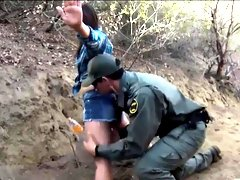 Pretty babe banged by border patrol agent on the border