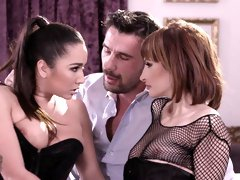 Karlee Grey and Ava Courcelles are getting anally fucked in the bed