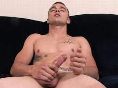 Ripped soldier tugs his hard cock