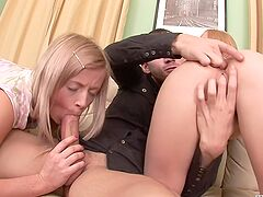 Blonde girls ass fucked in a perfect threesome home play