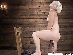 Blonde mature anal fucks machine