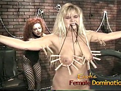 Kinky redhead bitch enjoys having fun with a raunchy blonde