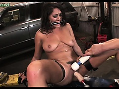 Chained slut getting huge dildos in her pussy
