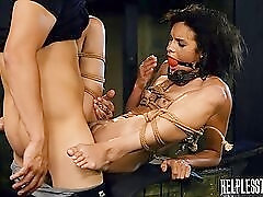 Skinny slave in bondage takes dick in her slick pussy