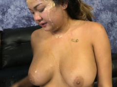 Chubby Asian Amateur Gets Roughed Up In A Threesome