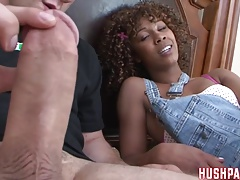 Curly haired Misty rides the big WhiteZilla Cock!!