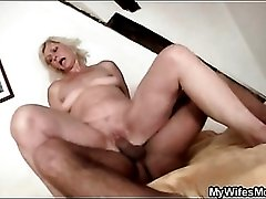 Blonde mom in law sucks and sits on him