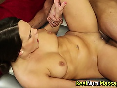 Showering masseuse banged