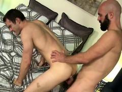 Big cock bear handjob with anal cumshot
