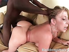 Pulling her hair and pounding her slutty white pussy