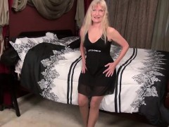 Europemature Horny blonde granny Cindy stripping down
