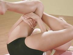 Huge titted trainer and two brunettes yoga