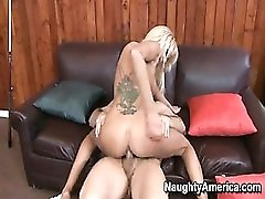 Back tattoo blonde fucked