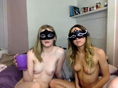 Two masked camgirls worship a cock and masturbate together