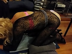 sissy t's first machine fuck