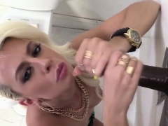 Slut gives gloryhole bj