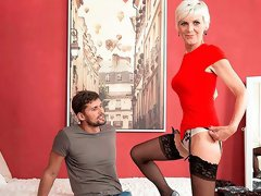 Excellent mature blonde Nicol Mandorla fucked by a young boy