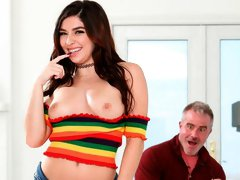 Cute small-tit babe Keira Croft gets nicely screwed in the cowgirl pose