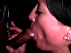 Glory hole bitch sucking fucking black cock
