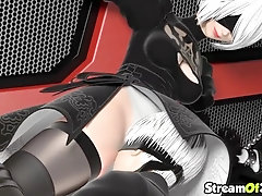 Hot Nier Automata hero gets pussy play nicely