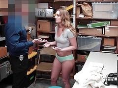 Busty shoplifter punished and fucked by a horny mall cop