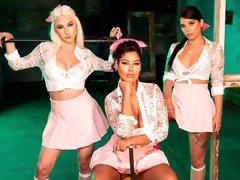 Gorgeous interracial lesbian sex with Bridgette B, Gina Valentina and Skylar Vox