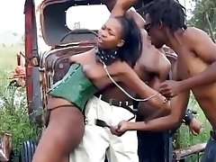 Kinky bondage black slave girl butt fucked from behind BDSM