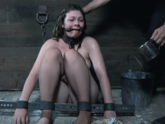 Restrained sub punished and pussytoyed