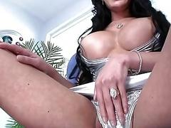 Mind blowing brunette with super hot tits wanks her cock