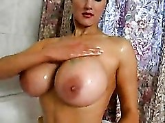 Big wet boobs babe in the shower
