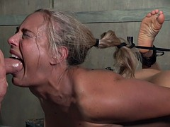 Wild blonde cougar inbound and humiliated with a long shaft