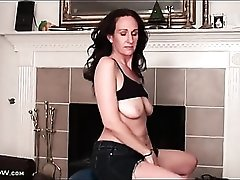 Milf Genevieve Crest works out and strips