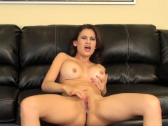Sexy Latina Vanessa Veracruz massages her big tits and rubs her peach