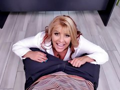 Adorable blonde Joclyn Stone is sucking a big dick on the knees