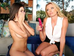 Beautiful angels Briana Banks and Darcie Dolce are enjoying nasty games