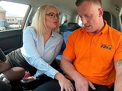 Driving instructor gives this blonde the dick