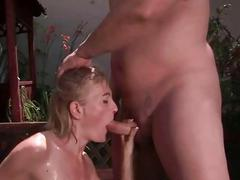 Guy and hot mature bitch pissing and fucking
