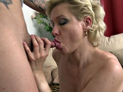 Good-looking blonde cougar rammed in her sweet fuck hole