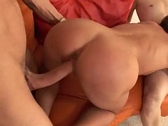 busty cathy heaven deepthroating while getting fucked in mmf threesome