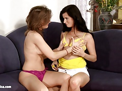 Passionate Kissers Megan and Ioana kiss and lick each other
