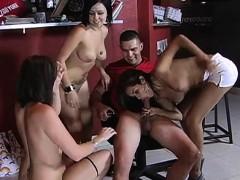 One guy takes on three pornstars