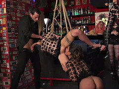 Slaves bound banged in public bar for the crowd