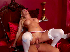 Looking fly in white stockings, sultry Denise Klarskov gets fucked good