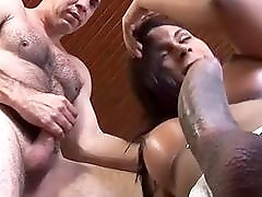 Shemale sucks a cock before riding it like a pro