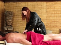 Redhead masseuse spunked