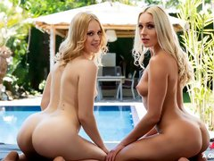 Spicy blondes Angelika Grays and Nikki Hill are fucking by the pool